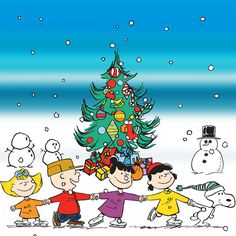 Description: Ice skating around a Christmas tree, many Peanuts characters are featured in this canvas art work. - Peanuts wall art featuring Charlie Brown, Snoopy, Lucy, Sally, and more - Durable art