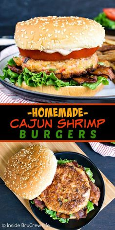 Homemade Cajun Shrimp Burgers – these easy shrimp burgers are loaded with cajun flavor and are ready in under 30 minutes. Try them on a bun with tomatoes and bacon or eat them as a lettuce wrap if you are eating healthy! Cajun Shrimp Recipes, Easy Chicken Recipes, Seafood Recipes, Easy Dinner Recipes, Gourmet Recipes, Cooking Recipes, Healthy Recipes, Donut Recipes, Dinner Ideas