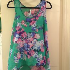 Summertime Tank Cute floral print tank. Hi-lo style. Francesca's Collections Tops Tank Tops