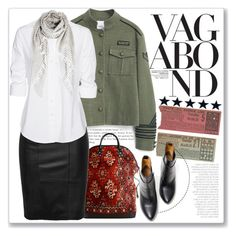 Military Style by crblackflag on Polyvore featuring polyvore, мода, style, Steffen Schraut, MANGO, Balenciaga, Burberry, Boots, MilitaryStyle and rugtote