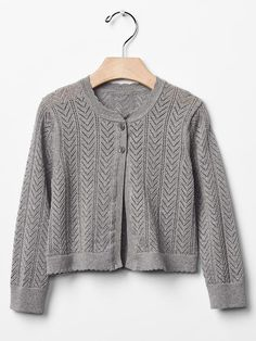 Pointelle knit cardigan. Product Image