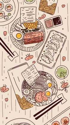 Innovative line art drawing of feast of japanese cuisine including ramen and gyoza with subtle colors including brown, blush and green. Soft Wallpaper, Anime Scenery Wallpaper, Cute Anime Wallpaper, Wallpaper Iphone Cute, Aesthetic Iphone Wallpaper, Pretty Wallpapers, Cute Cartoon Wallpapers, Animes Wallpapers, Japanese Wallpaper Iphone