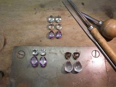today at the bench.....new gemstones ready for earrings .... wich one first?... rosegold?.... whitegold?