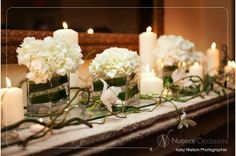 decorating with flowers and candles | Wedding Fireplace Mantlescape Decor Florals and Candles