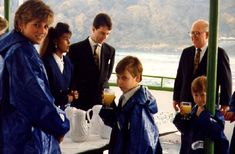 Diana, Princess of Wales, Prince William, & Prince Harry on the Maid of the Mist, October 26, 1991