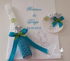 Kit de Batizado do Diego. Cores azul turquesa e verde alface.