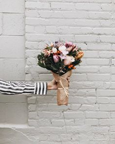 stripy shirt, bouquet