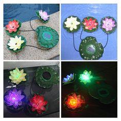 Practical Garden Pool Floating Lotus Solar Light Night Flower Lamp for Pond Fountain Decoration Solar Lamps
