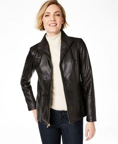 Sleek, smooth leather is the perfect material for this classic moto jacket from Cole Haan. #leatherjacket #coat #costumes #leatherjackets #onlineshipping #clothing #outfits #jacket #lifestyle #jackets #fashion #fashionblogger #fashionista #style #apparel #outwear #moto #Sleek #jacket #this #Cole #from #the #for #smooth #is #leather #Haan #perfect #classic #material Leather Jackets Online, Coats For Women, Clothes For Women, Wing Collar, Collarless Jacket, Unisex Baby Clothes, Celebrity Outfits, Faux Fur Jacket, Lambskin Leather