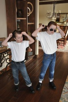 Simple Sock Hop attire - it's all in the attitude! Simple Sock Hop attire - it's all in the attitude! Sock Hop Attire, Sock Hop Outfits, 80s Party Outfits, 1950s Outfits, Baby Outfits, Kids 50s Costume, Kids Costumes Boys, Boy Halloween Costumes, Grease Costumes For Kids