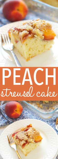 This Peach Streusel Cake is the perfect summer dessert with a tender cake base and a delicious streusel topping - make it with fresh or canned peaches! Recipe from thebusybaker.ca! #peachcake #easypeachcake #streuselcake #summerdessert via @busybakerblog