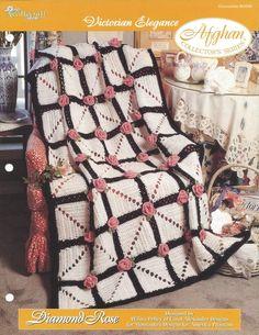 🍂 🌸 🌸 🍂 Crochê Rosa Padrão Afegão Vitoriana Casa itens decorativos Criações -  /🍂 🌸 🌸 🍂 Crochet Hooks Rose Victorian Afghan Pattern Home Knacks Creations -