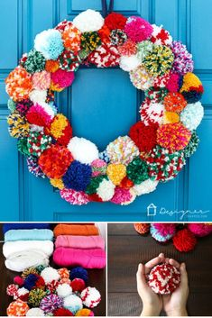 DIY Pom Pom Wreath Looking for wreaths for your front door? This colorful DIY wreath made with fun pom poms wreath is amazing! It is perfect for Fall, Winter and Christmas! All Things Christmas, Christmas Wreaths, Christmas Crafts, Christmas Decorations, Christmas Pom Pom, Christmas Stockings, Xmas, Pom Pom Wreath, Diy Wreath