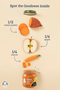 sweet potato + apple + carrot = the best nutrition for baby. Gerber pouches have a transparent window so you can see all the wholesome goodness inside- like the real fruits we can track right down to the farms and fields they were grown in! Baby Puree Recipes, Pureed Food Recipes, Baby Food Recipes, Recipes For Babies, Baby Food Puree, Toddler Meals, Kids Meals, Acerola, Healthy Baby Food