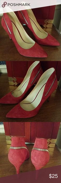 Nine West Shoes Red with a  back zipper decor and a high back for that chic look; approximately 4 inch heel Nine West Shoes