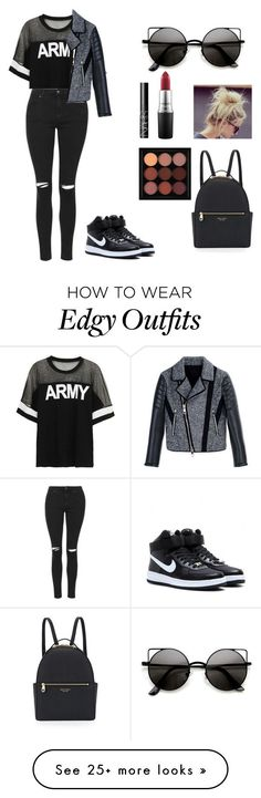 """""""EDGY GIRL ~ EVERY DAY LOOK """" by tigerlilybae on Polyvore featuring Topshop, NIKE, MAC Cosmetics, NARS Cosmetics, Henri Bendel and Neil Barrett"""