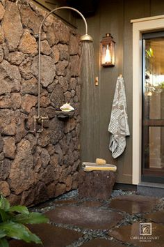 outdoor shower lava rock
