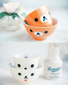 bowl, cute, japan, mug, orange, rilakkuma