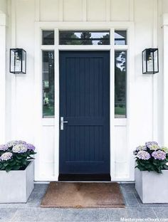 New Exterior Front Door Decor Navy Blue IdeasNew Exterior Front Door Decor Navy Blue Ideas exterior decorFarmhouse Front Door Navy IdeasFarmhouse Front Door Navy IdeasFront door welcome decal, cute welcome sticker greeting for Front Door Lighting, Wood Front Doors, Exterior Front Doors, Solid Doors, Painted Front Doors, House Paint Exterior, Entry Doors, Front Entry, Navy Front Doors