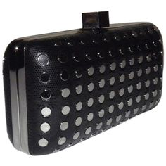 Pre-owned Milly Studded Minaudire Black Clutch ($268) ❤ liked on Polyvore featuring bags, handbags, clutches, black, studded handbags, studded leather handbag, leather purse, studded leather purse and milly handbags