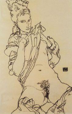 """Résultat de recherche d'images pour """"Standing Nude, 1911 Egon Schiele"""""""