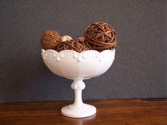 Vintage Milk Glass Pedestal Compote Fruit Bowl by SherwoodVintage, $24.00
