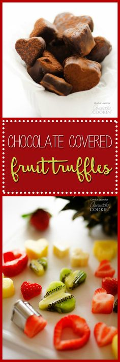 These delicious chocolate covered fruit truffles have just two ingredients and make the perfect homemade Valentine's Day gift!
