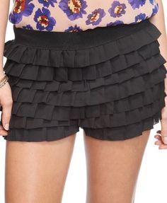 layered ruffle shorts