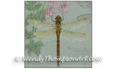 Dragonfly art blank note card - Original design