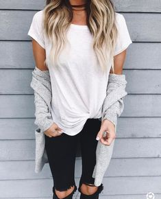 1. Comfortable cotton/sheer short sleeve white T (LOOSE fitting)NOT tight)  2. Again, black torn jeans