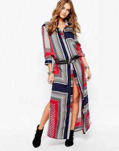 missguided  langes hemdkleid mit print  rot #print #long #maxidress #longdress #dress #covetme