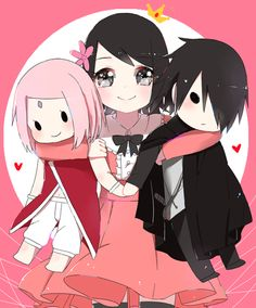 Sarada with plushes of her parents