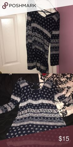 Medium Dress from Charlotte Russe It's a navy blue, printed, midi, flowy Summer dress with a cute little open in the back, barely worn no rips or tears and a 9/10 condition Charlotte Russe Dresses Midi