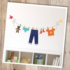 Sticker fil à linge vêtements pour chambre de garçon #baby #boy #kids #room #children #child #jean #pants #clothes #t-shirt #custom #decal #vinyl