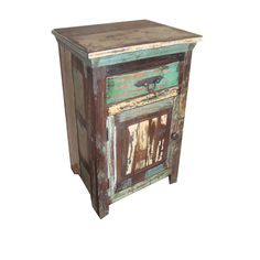 Accentuate your home with this fine reclaimed 1 drawer 1 door vintage end table from Privilege International.Features:Materia...