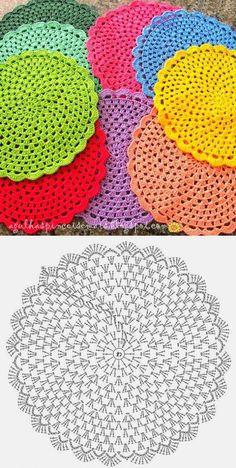 Motif Mandala Crochet, Crochet Coaster Pattern, Crochet Circles, Crochet Doily Patterns, Crochet Diagram, Crochet Chart, Crochet Squares, Crochet Designs, Crochet Doilies