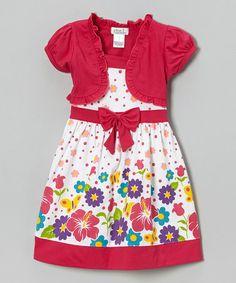 Look what I found on #zulily! Fuchsia Hibiscus Floral Dress & Shrug - Infant, Toddler & Girls #zulilyfinds