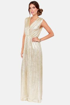 All that Shimmers is Gold Light Gold Maxi Dress | Navy suits ...