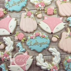 Girly woodland decorated cookies by LC Sweets Baby Cookies, Baby Shower Cookies, Birthday Cookies, Iced Cookies, Fox Cookies, Sugar Cookies, Horse Cookies, Pumpkin Cookies, 2nd Baby Showers