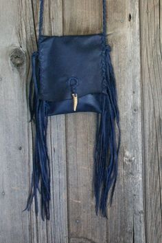 Blue leather crossbody bag , fringed leather bag , blue phone bag , Navy blue purse , boho handbags by thunderrose - pinned by pin4etsy.com