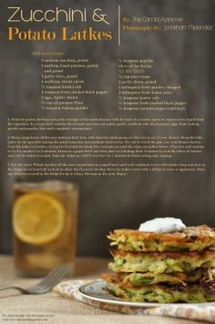 Zucchini and Potato Latkes. Happy Rosh Hashanah!