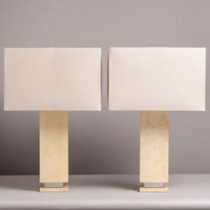 A Pair of Springer Style Tessellated Bone Table Lamps 1970s -