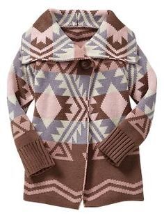 Southwestern intarsia shawl sweater