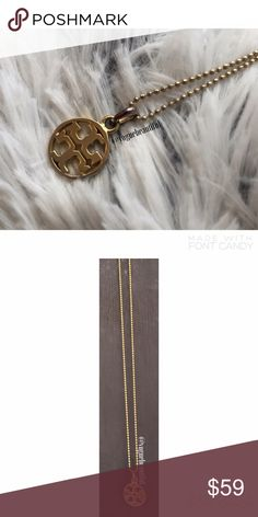Tory Burch Simple Logo Necklace Authentic Tory Burch logo necklace • Simple style • Price discounted due to tarnishing to where the charm connects to the necklace as shown • Adjustable length • Length when clasped at the last loop is 9.5 inches • Gold tone • NO TRADES ‼️ Tory Burch Jewelry Necklaces
