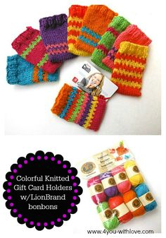 Easy colorful knitted gift card holders made with Lion Brand Yarn bonbons. Free patterns for gift card holders that can be used as credit card holders too!