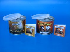 Personalised tin cans are useful and pretty. From small business owners to industry Giants, companies in South Africa simply love our personalised tin cans! Tin Cans, Coffee Cans, Candy, Canning, Food, Home Canning, Eten, Candles, Meals