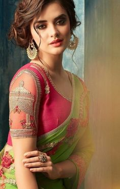 Green and Pink Embroidered Silk Chiffon Saree, blouse has beautiful work specially the Chabutra part in sleeves, rest blouse has minimal design Silk Saree Blouse Designs, Saree Blouse Patterns, Bridal Blouse Designs, Chiffon Saree, Saree Dress, Silk Chiffon, Sari Silk, Pink Saree Blouse, Green Blouse
