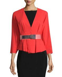 3/4-Sleeve Belted Jacket, Flame Red - Donna Karan