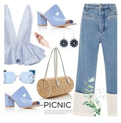 """Picnic in the park"" by jan31 ❤ liked on Polyvore featuring Loewe, Leal Daccarett, Maryam Nassir Zadeh, Pamela Munson, Nam Cho, Pared, Maybelline, jeans, picnic and ruffles"