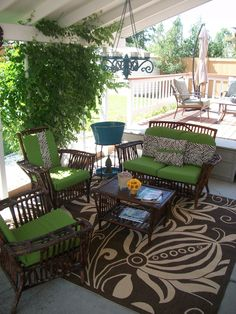 Covered Patio Needed A Jolt Of Color...lime Green And Zebra Print Fit